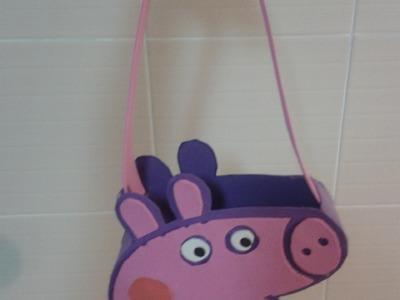 MANUALIDADES:BOLSO DULCERO PEPPA PIG (PURSE PEPPA PIG) DE GOMA EVA (FOAMI)