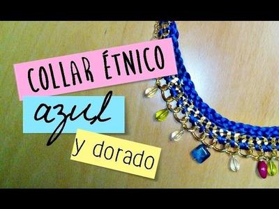 ❤ Collar étnico azul, cadena de maxieslabones y abalorios ✎| Bisutería DIY