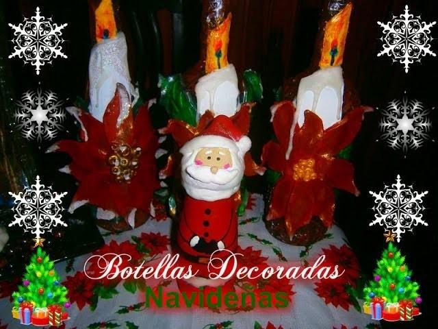 Como hacer Botellas decoradas Navideñas.How to make Christmas bottles