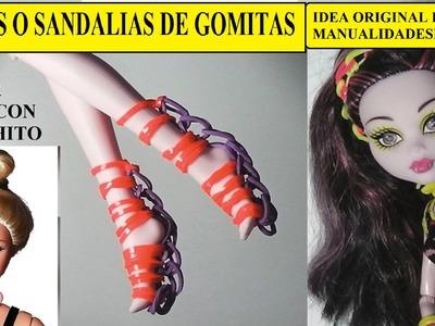 Como hacer sandalias o botas de gomitas solo con ganchito para muñecas Barbie o Monster High