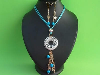Como hacer un juego de collar y aretes con hilo y cadena, bonito y facil.