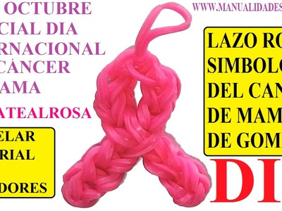 COMO HACER UN LAZO ROSA DE GOMITAS SIN TELAR, CON TENEDORES. ESPECIAL DIA DEL CANCER DE MAMA.