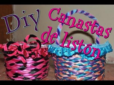DIY ♥ Canastas de listón (colaboración con Marily Ortiz)♥