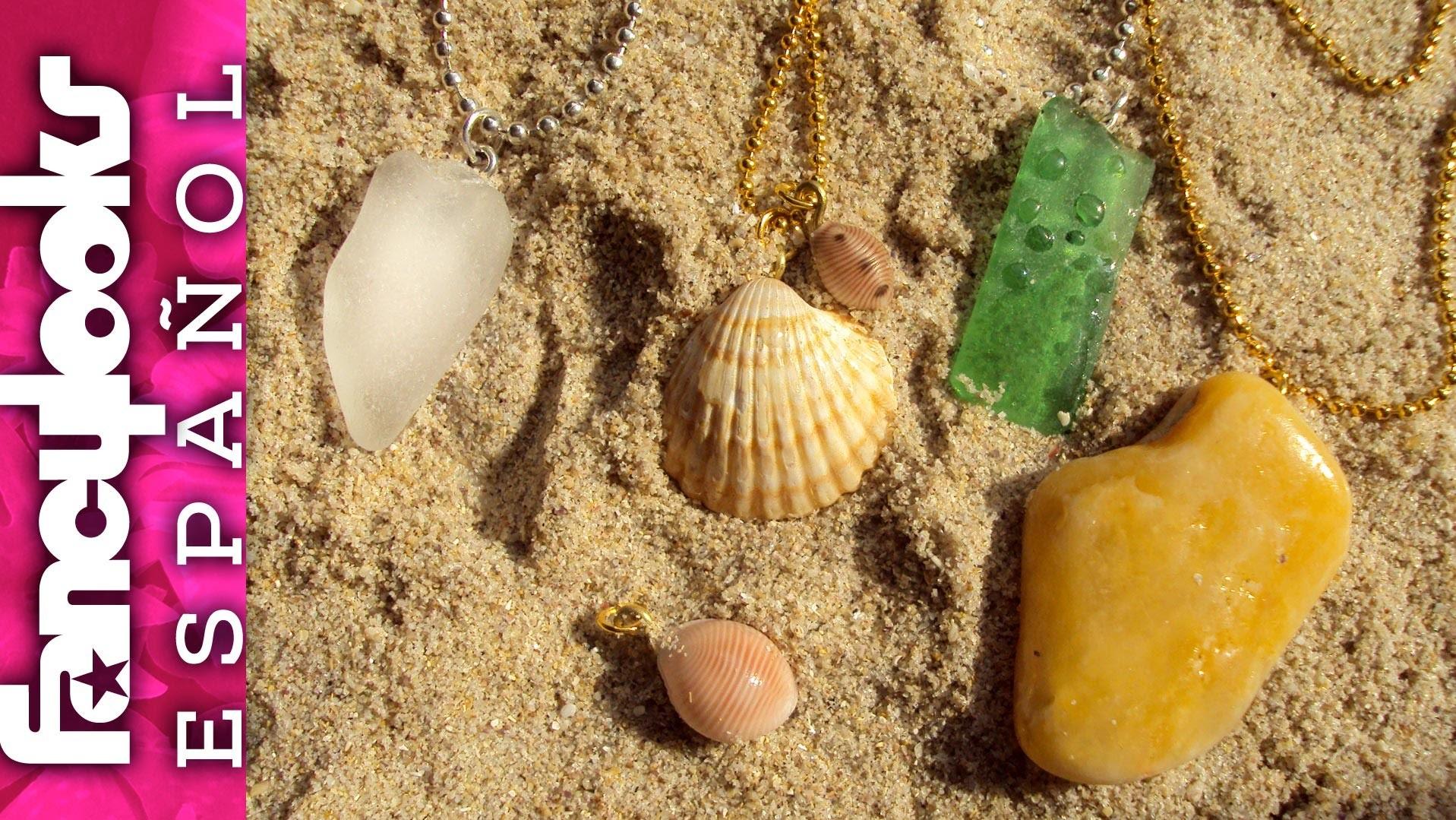 "DIY Colgantes con tus ""tesoros"" de la playa-Sea glass and shell pendants"