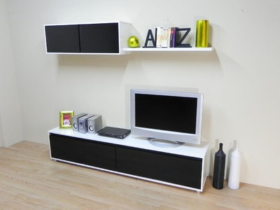 Mueble salon comedor economico (Blanco combinado Negro ref. 10128; todo blanco ref. 10182)