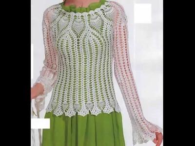 Suéter Calado Escote y Puños Piñas a Crochet