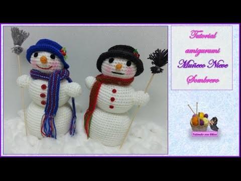 Tutorial amigurumi Muñeco de Nieve 5.7 - Sombrero