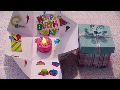 Cajita sorpresa con un pastel dentro para un cumpleaños o 14 de febrero, etc