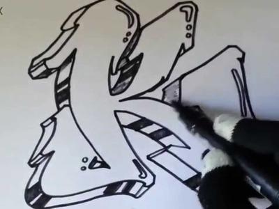 Como hacer letras de graffitis 3D faciles - Letras de graffiti 3D [HD]