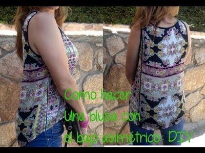 Como hacer una blusa con bajo asimétrico, (Patrón gratis), Diy con patronesmujer.com.