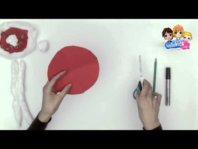 Fabricar el gorro de Papa Noel con cartulina - Videos de manualidades NAVIDAD (Hellokids)