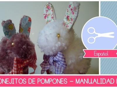 Manualidad como hacer CONEJITOS de Pompones - Tutorial decoraciones Pascua (hazlo tu mismo) [FACIL}
