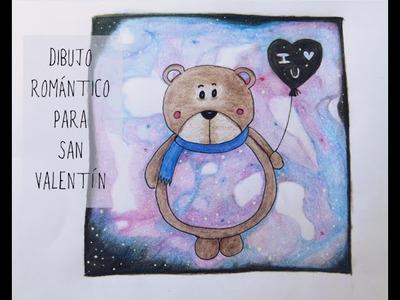 Oso romántico con fondo galáctico [Manualidades para San Valentín 2015]