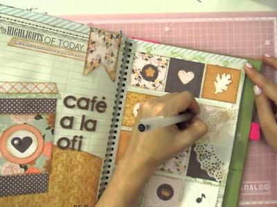 Smash Book Terapia: Página organizada *Cómo hacer un diario de Scrap* Smash book tutorial