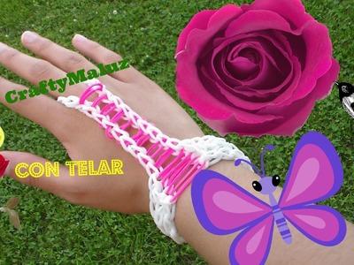 Tutorial: Pulsera con anillo de gomitas accesorio para la mano. Rainbow loom Hand Accessory