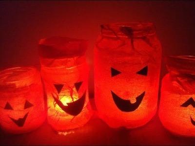 Cómo hacer farolillos con tarros para Halloween