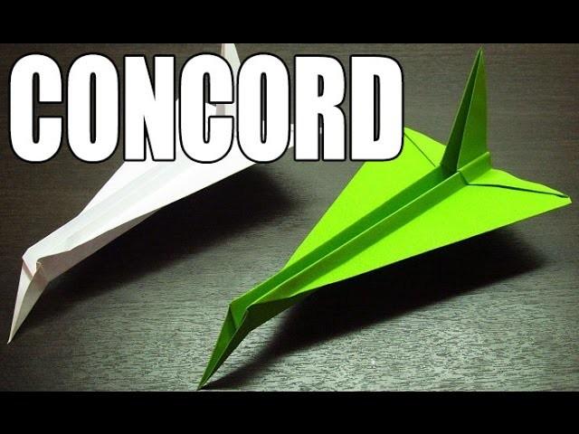 Como hacer un avion de papel con cola | Origamis de papel Avión modelo Concord (Muy fácil)
