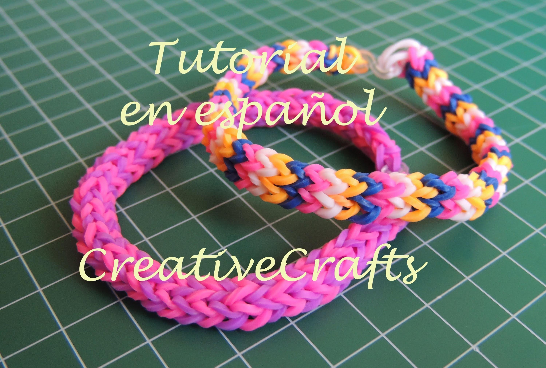 Como hacer una pulsera de gomitas de 4 pins SIN TELAR. Rainbow Loom Bracelet 4 Pins.