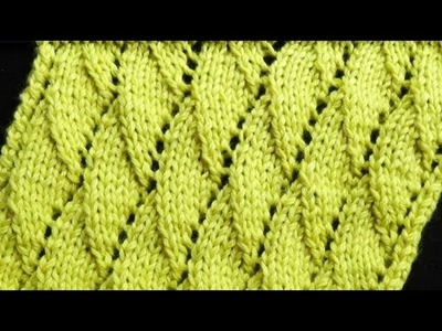 Cómo Tejer Punto Hojas-Leaves Knit Stitch-2 Agujas (289)