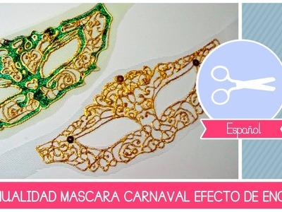 Manualidad como hacer un ANTIFAZ (mascara) efecto de encaje por el Carnaval - DIY