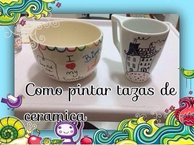 Pintar tazas de ceramica,cristal.painted ceramic cups diy