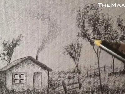 Cómo dibujar paisaje a lápiz paso a paso FÁCIL HD