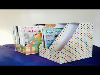 Como Hacer Organizador de Libros y Revistas hecho de Cajas de Cereal Recicladas