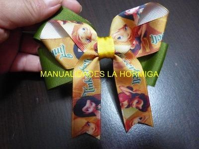 Como hacer un moño corbata facil en  liston para el cabello Video No.184