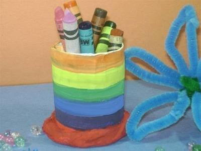 Como hacer un portalapiz pequeño con un tubo de papel higienico