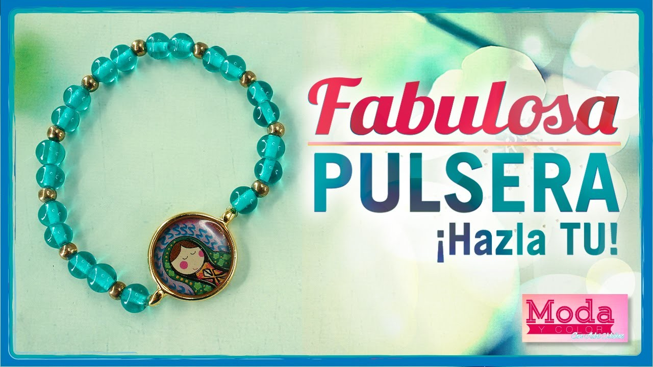 Como hacer una pulsera con dije de virgen e indian glass capitulo 7. Kit 21046