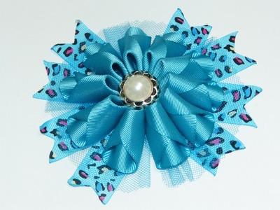 Diy modelos diferentes de flores con cinta gros,.  Lazos con flores para el cabello