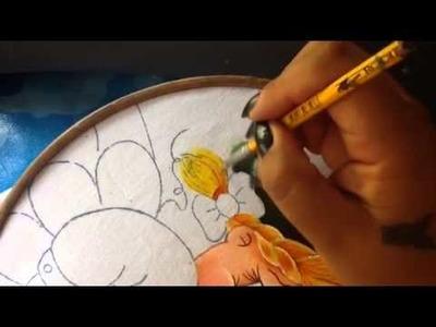 Pintura en tela niña uva # 3 con cony