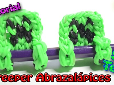 ♥ Tutorial: Creeper abrazalápices de gomitas (sin telar) ♥