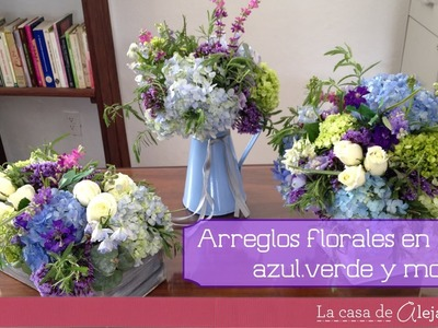 Arreglos de flores en azul verde y morado DIY Flower Arrangements in green blue and purple