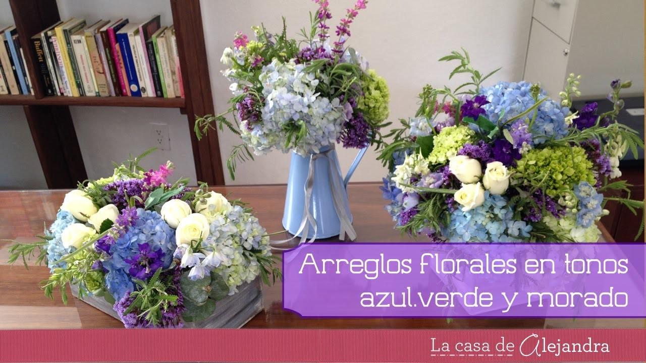 Arreglos de flores en azul verde y morado DIY Flower Arrangements in green blue and purple