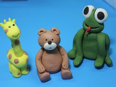 Cómo hacer figuras de fondant para tartas: oso  y jirafa