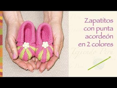 Crochet paso a paso: zapatos con punta acordeón en 2 colores para bebés!