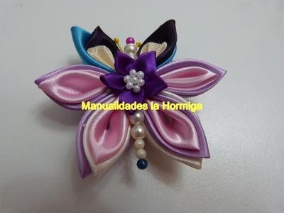 Diy como  elaborar mariposas para el cabello con tela y flores miniaturas,