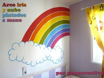 DIY: Pintar a mano sobre pared un arco iris para habitación infantil - Mural con pintura plástica