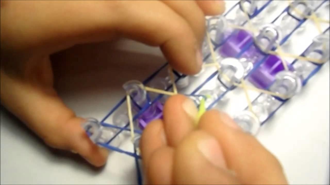 How to make rainbow loom rhombus bracelet. Como hacer el brazalete de rombos en español