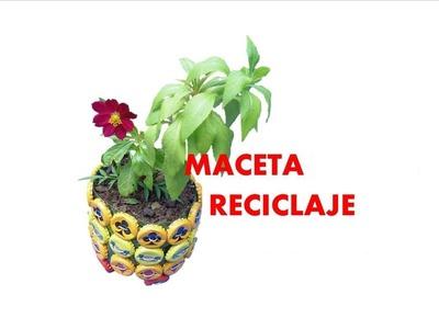 MANUALIDADES - Como hacer matera con botellas  recicladas - RECICLAJE