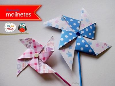 Molinete de papel. Manualidades con niños