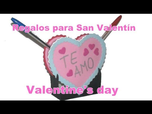 Regalos para San Valentín Portalápices de corazón en foamy goma eva mensajes personalizados