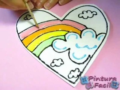 San Valentin *How to Paint Hearts* 1 Pintar Corazones Arcoiris Falso Vitral 14 Febrero Pintura Facil