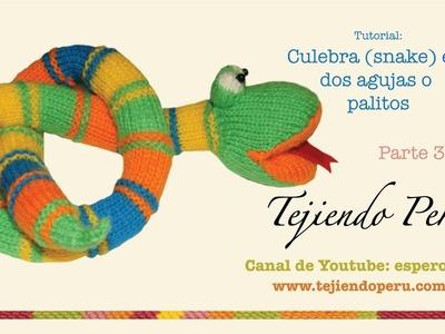 Culebra (snake) tejida en dos agujas o palitos (parte 3: boca y armado)