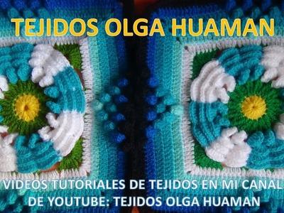 Flor de dos colores tejido a crochet para colcha paso a paso video 4