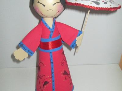 Hecho En Casa: Fofucha Geisha (Paso A Paso En Goma Eva) - Silvana Cocina Y Manualidades