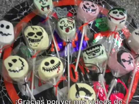 PALETAS DE BOMBON. HALLOWEEN MARSHMALLOWS