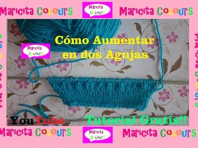 """Tutorial """"Cómo Hacer aumentos en Tejidos a dos Agujas"""" por Maricita Colours"""