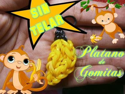 Como hacer un Platano o Banana con Gomitas SIN TELAR.Rainbow Loom Charms: Banana